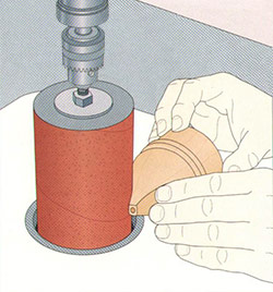 a trick to use a sanding drum with a drill press